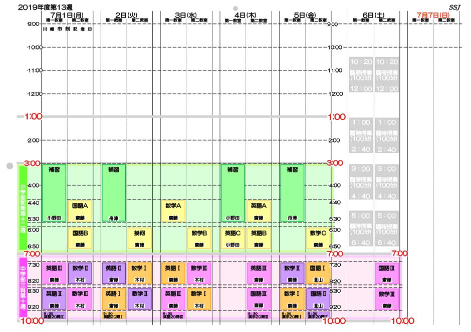 時間割20190701-20190707